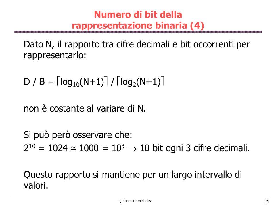 © Piero Demichelis 21 Numero di bit della rappresentazione binaria (4) Dato N, il rapporto tra cifre decimali e bit occorrenti per rappresentarlo: D /