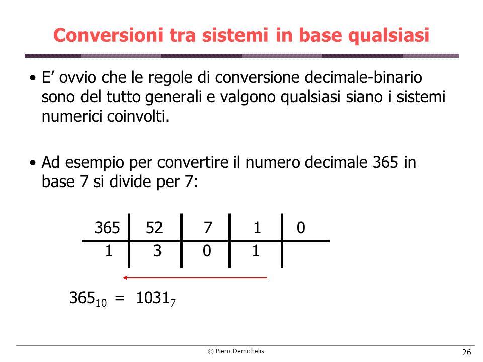 © Piero Demichelis 26 Conversioni tra sistemi in base qualsiasi E ovvio che le regole di conversione decimale-binario sono del tutto generali e valgon