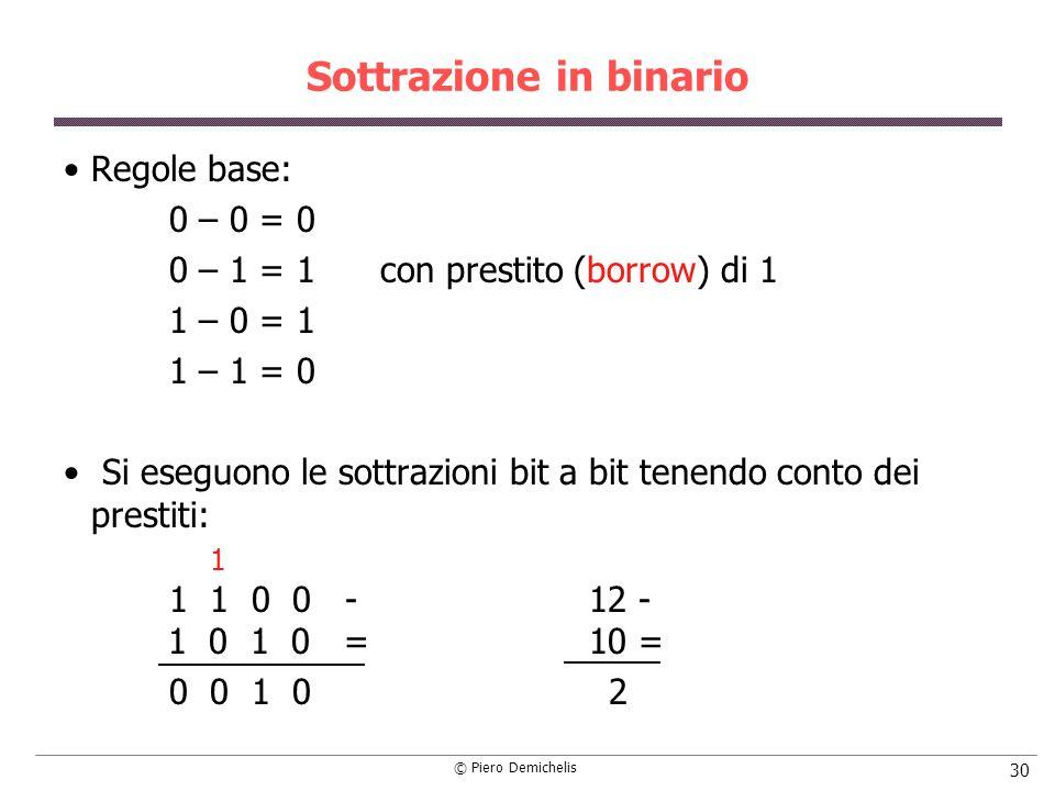 © Piero Demichelis 30 Sottrazione in binario Regole base: 0 – 0 = 0 0 – 1 = 1con prestito (borrow) di 1 1 – 0 = 1 1 – 1 = 0 Si eseguono le sottrazioni