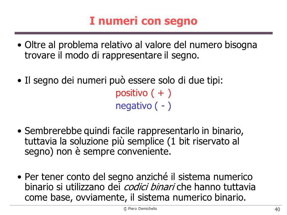 © Piero Demichelis 40 I numeri con segno Oltre al problema relativo al valore del numero bisogna trovare il modo di rappresentare il segno. Il segno d