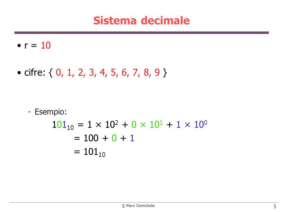 © Piero Demichelis 16 Conversione da decimale a binario N = d n-1 · r n-1 +.....