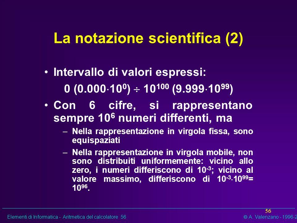 Elementi di Informatica - Aritmetica del calcolatore 56 A. Valenzano - 1996-2002 56 La notazione scientifica (2) Intervallo di valori espressi: 0 (0.0