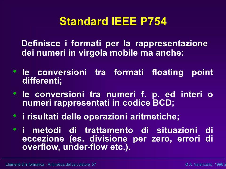 Elementi di Informatica - Aritmetica del calcolatore 57 A. Valenzano - 1996-2002 Standard IEEE P754 Definisce i formati per la rappresentazione dei nu