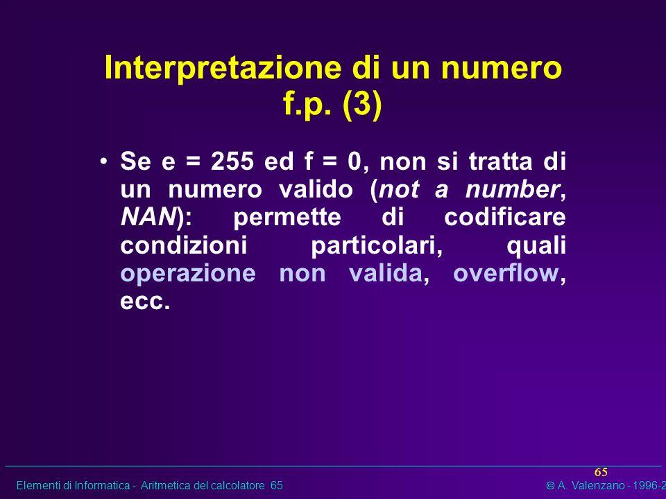 Elementi di Informatica - Aritmetica del calcolatore 65 A. Valenzano - 1996-2002 65 Interpretazione di un numero f.p. (3) Se e = 255 ed f = 0, non si