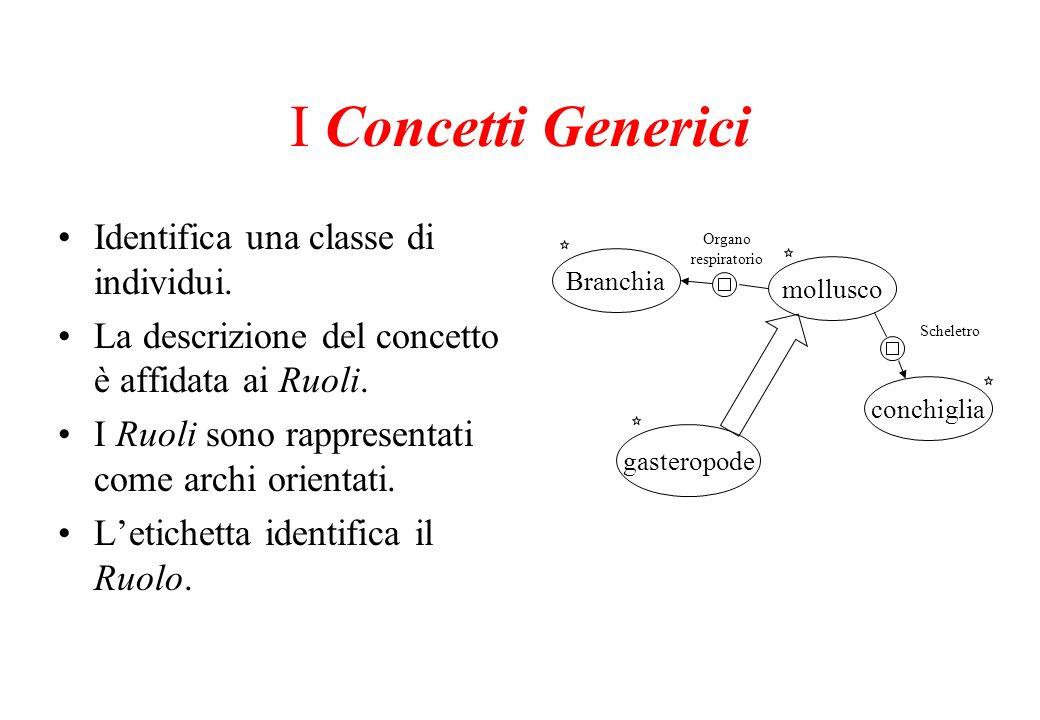 I Concetti Generici Identifica una classe di individui. La descrizione del concetto è affidata ai Ruoli. I Ruoli sono rappresentati come archi orienta