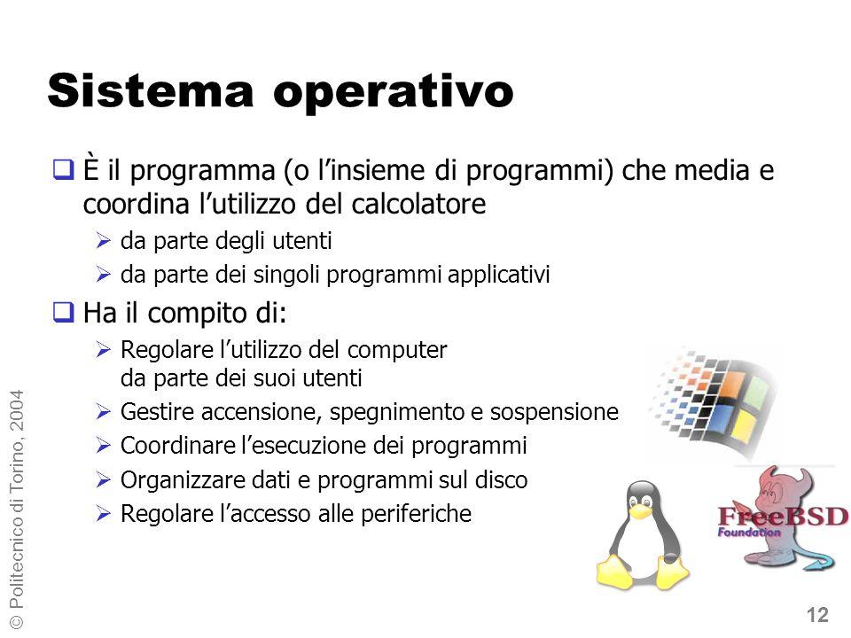12 © Politecnico di Torino, 2004 Sistema operativo È il programma (o linsieme di programmi) che media e coordina lutilizzo del calcolatore da parte de