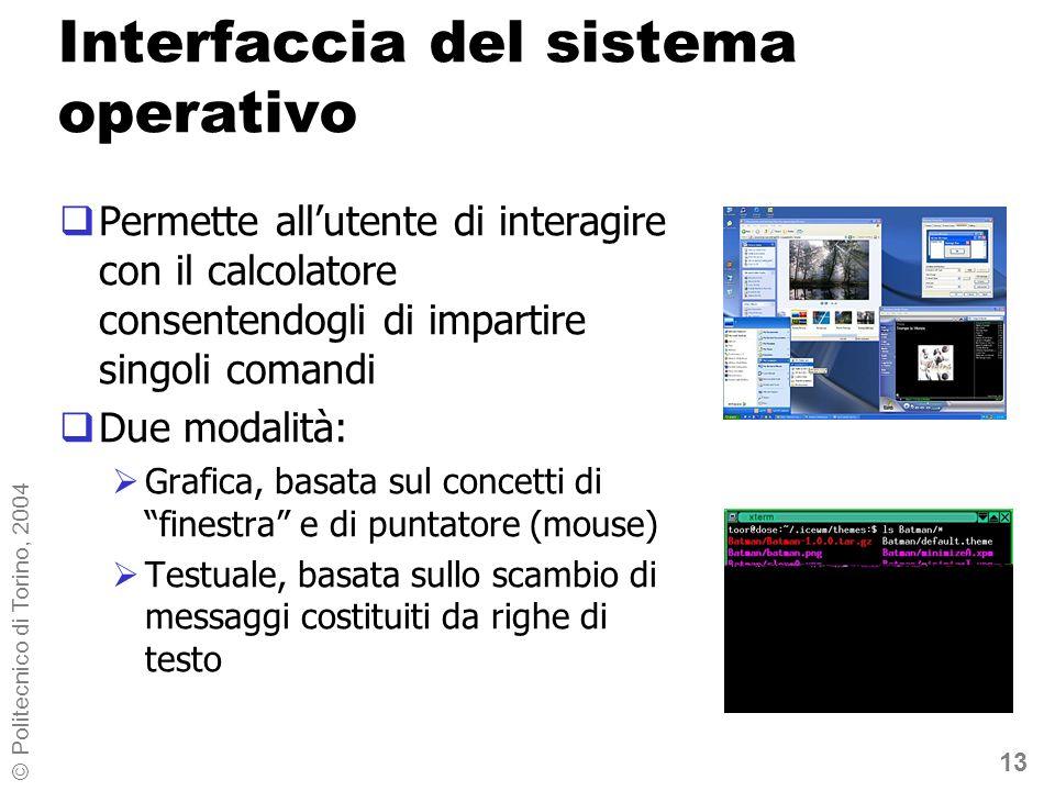 13 © Politecnico di Torino, 2004 Interfaccia del sistema operativo Permette allutente di interagire con il calcolatore consentendogli di impartire sin