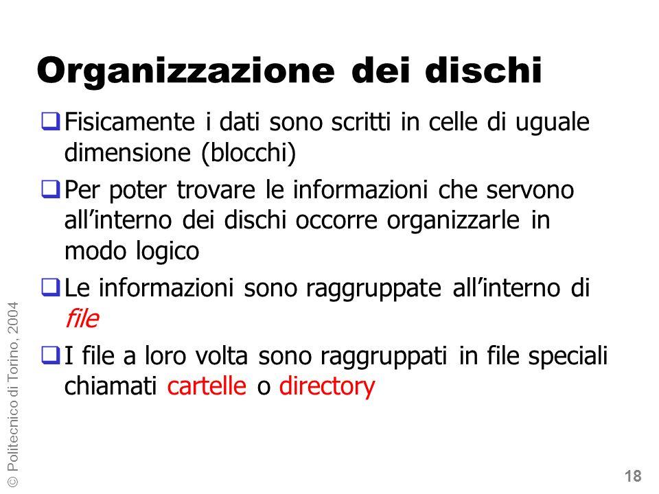 18 © Politecnico di Torino, 2004 Organizzazione dei dischi Fisicamente i dati sono scritti in celle di uguale dimensione (blocchi) Per poter trovare l