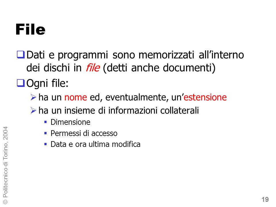 19 © Politecnico di Torino, 2004 File Dati e programmi sono memorizzati allinterno dei dischi in file (detti anche documenti) Ogni file: ha un nome ed