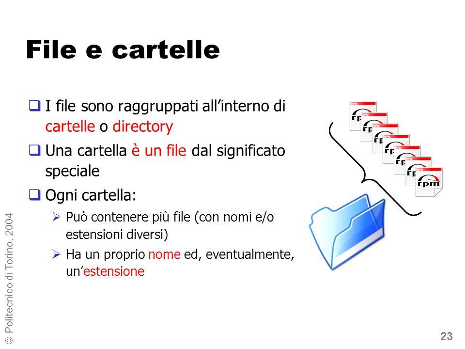 23 © Politecnico di Torino, 2004 File e cartelle I file sono raggruppati allinterno di cartelle o directory Una cartella è un file dal significato spe