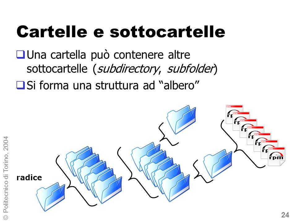 24 © Politecnico di Torino, 2004 Cartelle e sottocartelle Una cartella può contenere altre sottocartelle (subdirectory, subfolder) Si forma una strutt