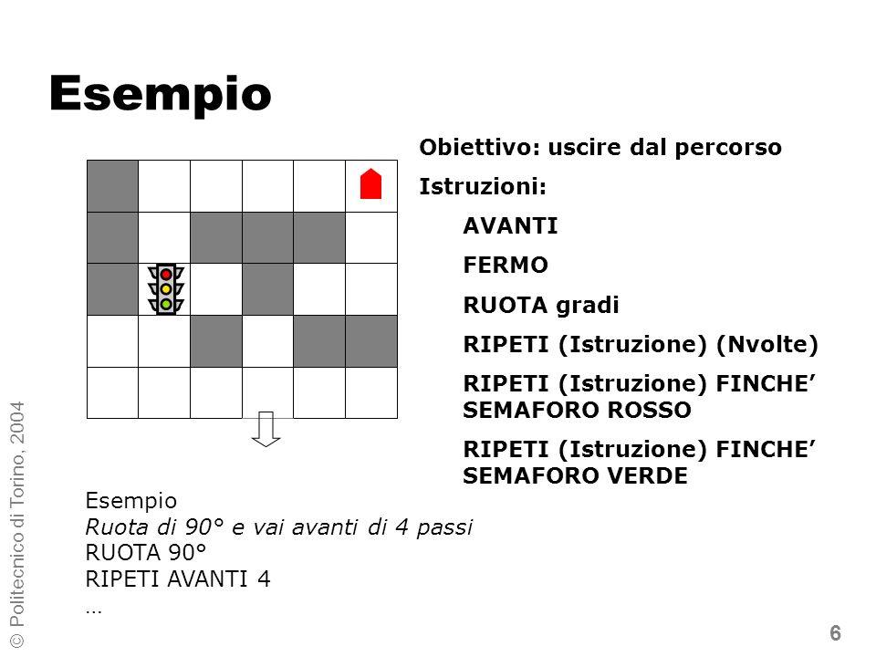 7 © Politecnico di Torino, 2004 Esempio Soluzione RUOTA 270° RIPETI AVANTI 4 RUOTA 270° AVANTI RIPETI FERMO FINCHE SEMAFORO ROSSO RIPETI AVANTI 3 RUOTA 270° RIPETI AVANTI 2 RUOTA 90 AVANTI