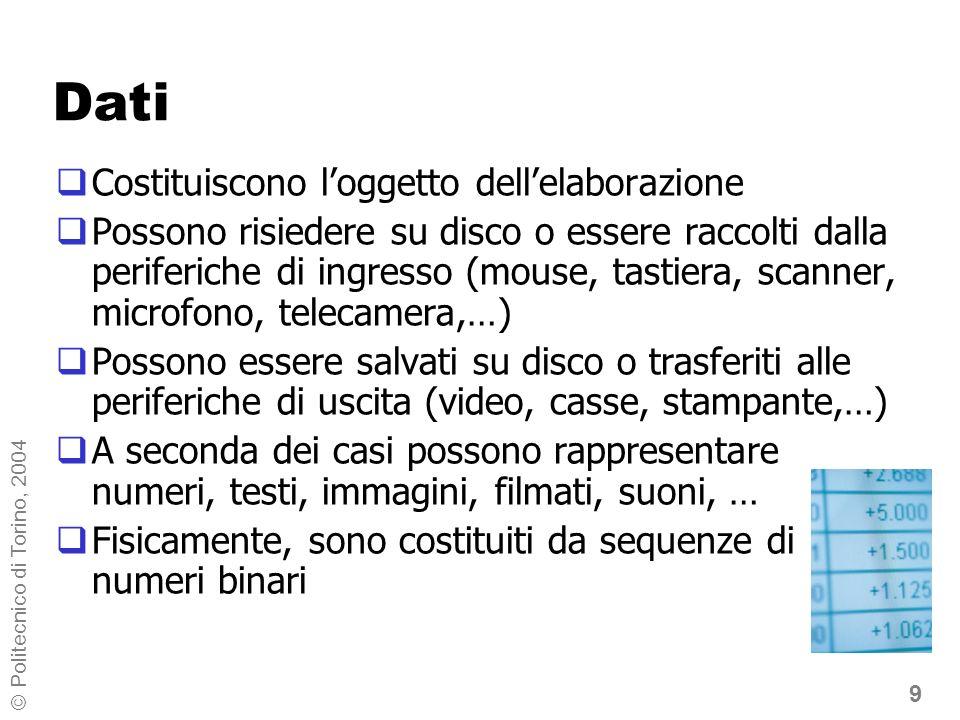 9 © Politecnico di Torino, 2004 Dati Costituiscono loggetto dellelaborazione Possono risiedere su disco o essere raccolti dalla periferiche di ingress