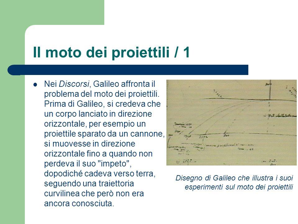 Il moto dei proiettili / 1 Nei Discorsi, Galileo affronta il problema del moto dei proiettili. Prima di Galileo, si credeva che un corpo lanciato in d