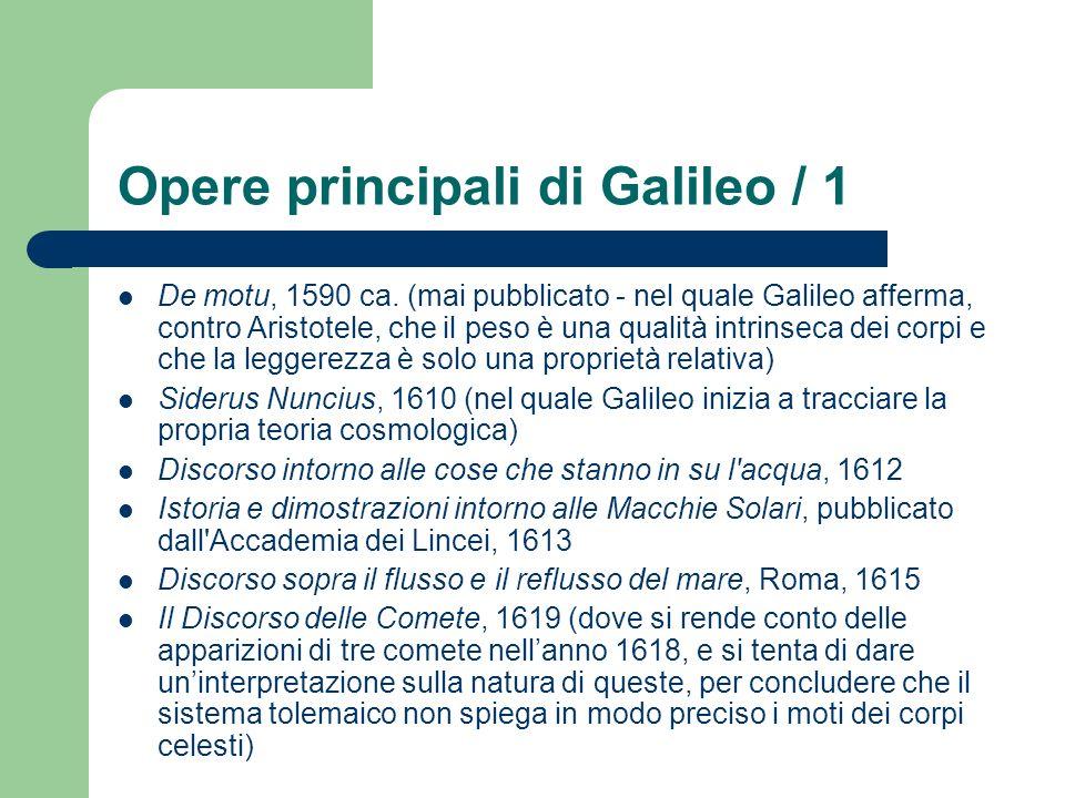 Opere principali di Galileo / 1 De motu, 1590 ca. (mai pubblicato - nel quale Galileo afferma, contro Aristotele, che il peso è una qualità intrinseca