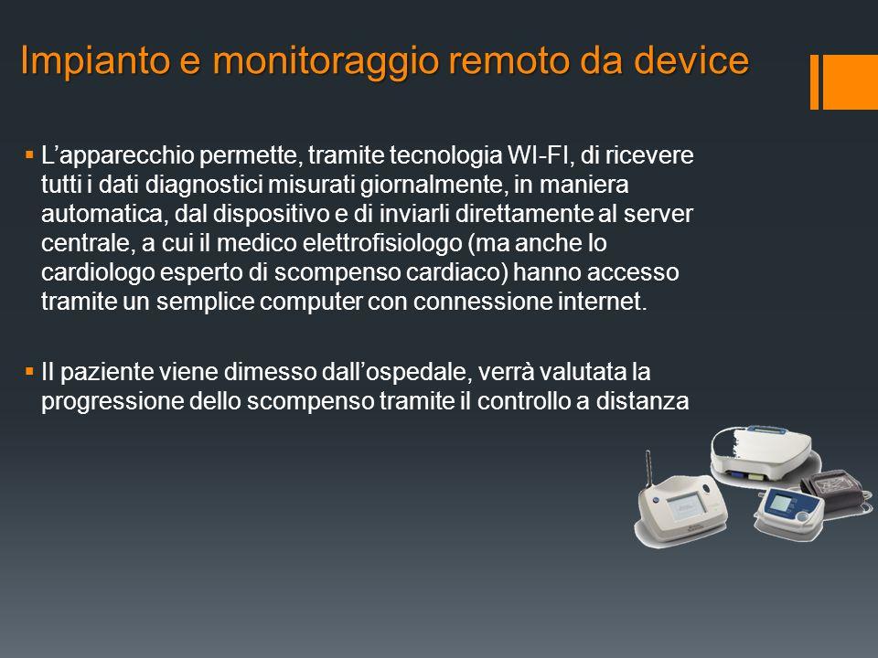 Lapparecchio permette, tramite tecnologia WI-FI, di ricevere tutti i dati diagnostici misurati giornalmente, in maniera automatica, dal dispositivo e