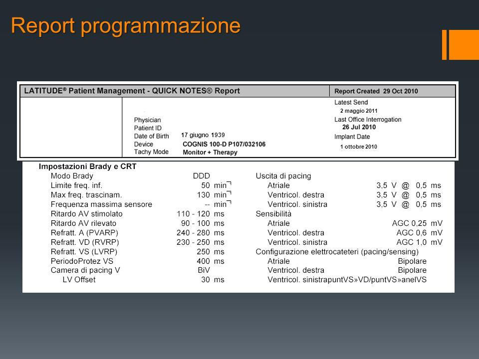 17 giugno 1939 2 maggio 2011 1 ottobre 2010 Report programmazione