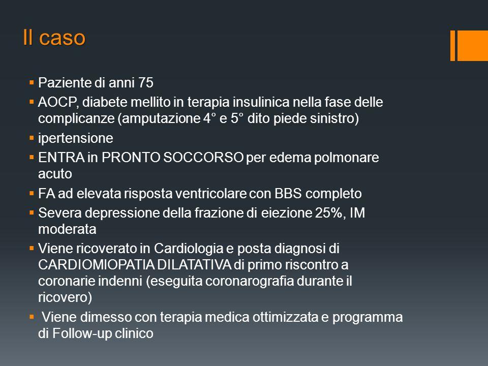 Il caso Paziente di anni 75 AOCP, diabete mellito in terapia insulinica nella fase delle complicanze (amputazione 4° e 5° dito piede sinistro) iperten