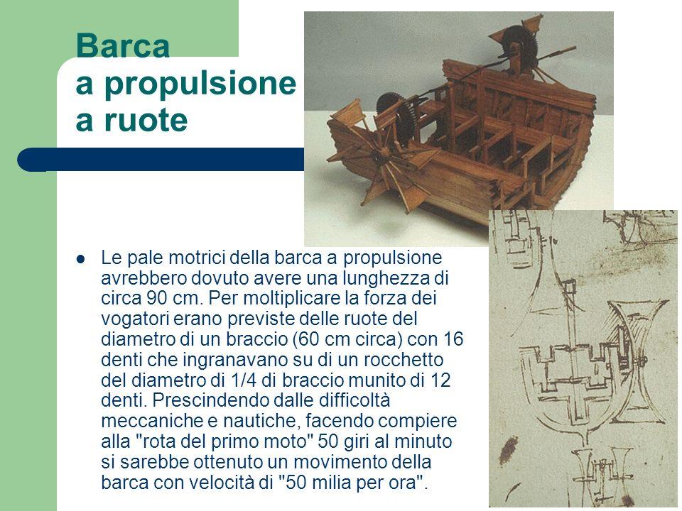 Barca a propulsione a ruote Le pale motrici della barca a propulsione avrebbero dovuto avere una lunghezza di circa 90 cm. Per moltiplicare la forza d