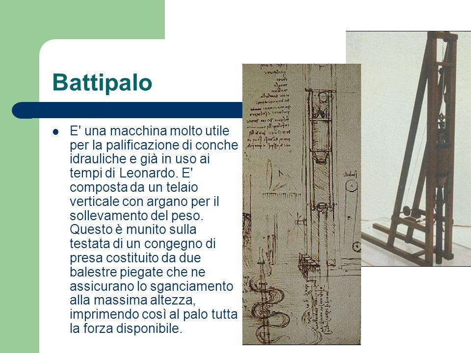 Battipalo E' una macchina molto utile per la palificazione di conche idrauliche e già in uso ai tempi di Leonardo. E' composta da un telaio verticale