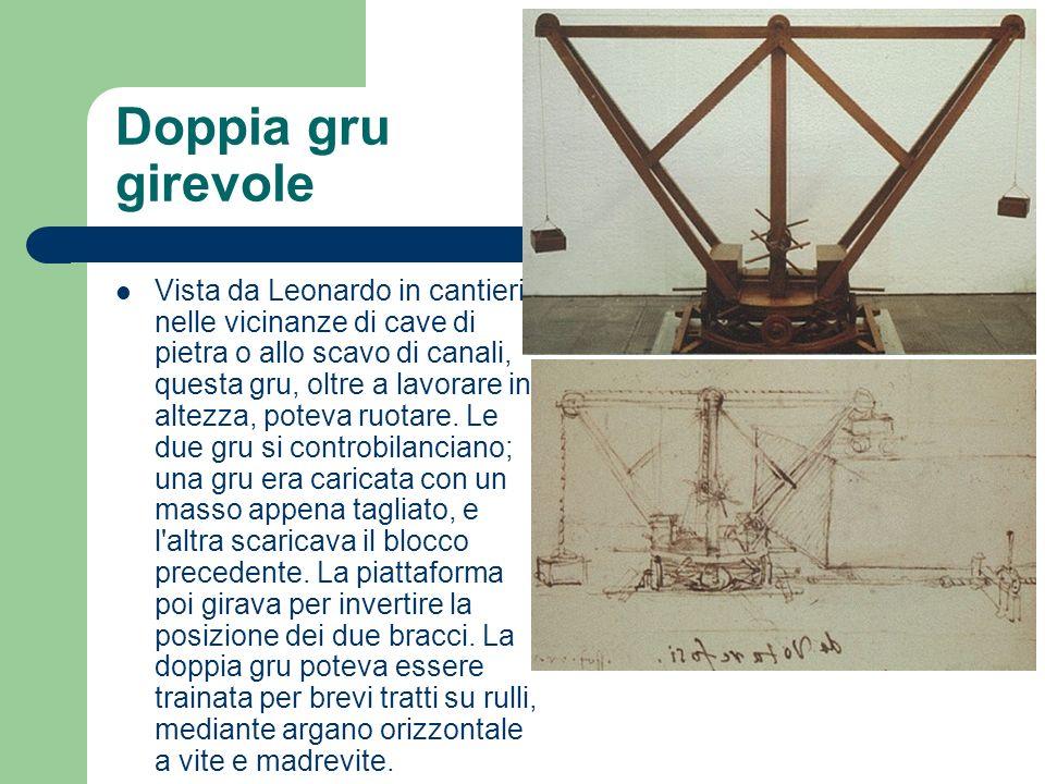 Doppia gru girevole Vista da Leonardo in cantieri, nelle vicinanze di cave di pietra o allo scavo di canali, questa gru, oltre a lavorare in altezza,