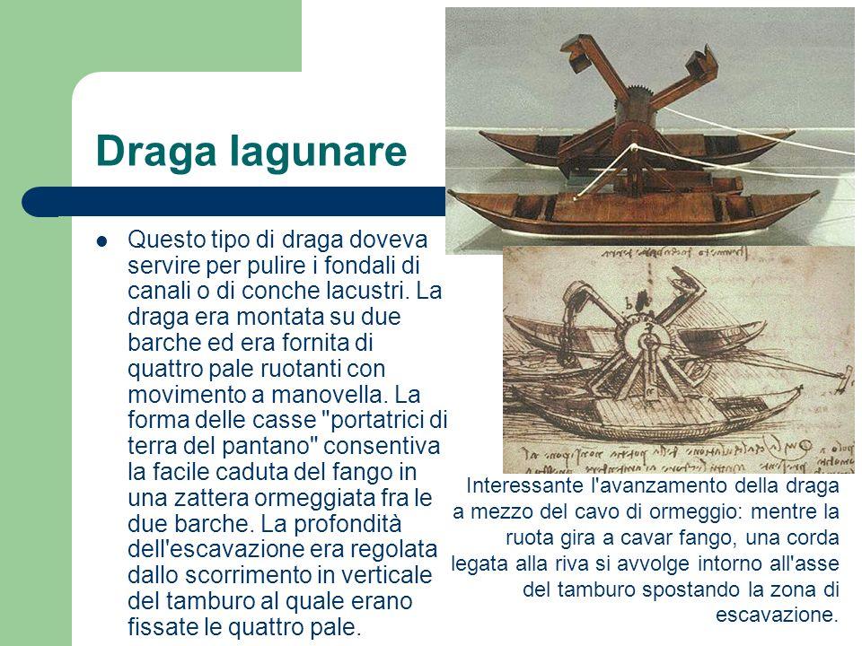 Draga lagunare Questo tipo di draga doveva servire per pulire i fondali di canali o di conche lacustri. La draga era montata su due barche ed era forn