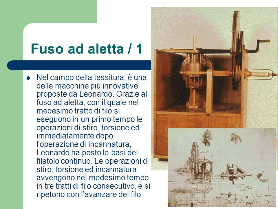 Fuso ad aletta / 1 Nel campo della tessitura, è una delle macchine più innovative proposte da Leonardo. Grazie al fuso ad aletta, con il quale nel med
