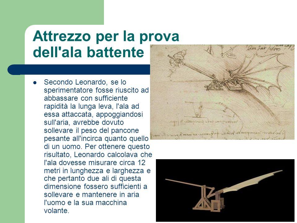 Attrezzo per la prova dell'ala battente Secondo Leonardo, se lo sperimentatore fosse riuscito ad abbassare con sufficiente rapidità la lunga leva, l'a
