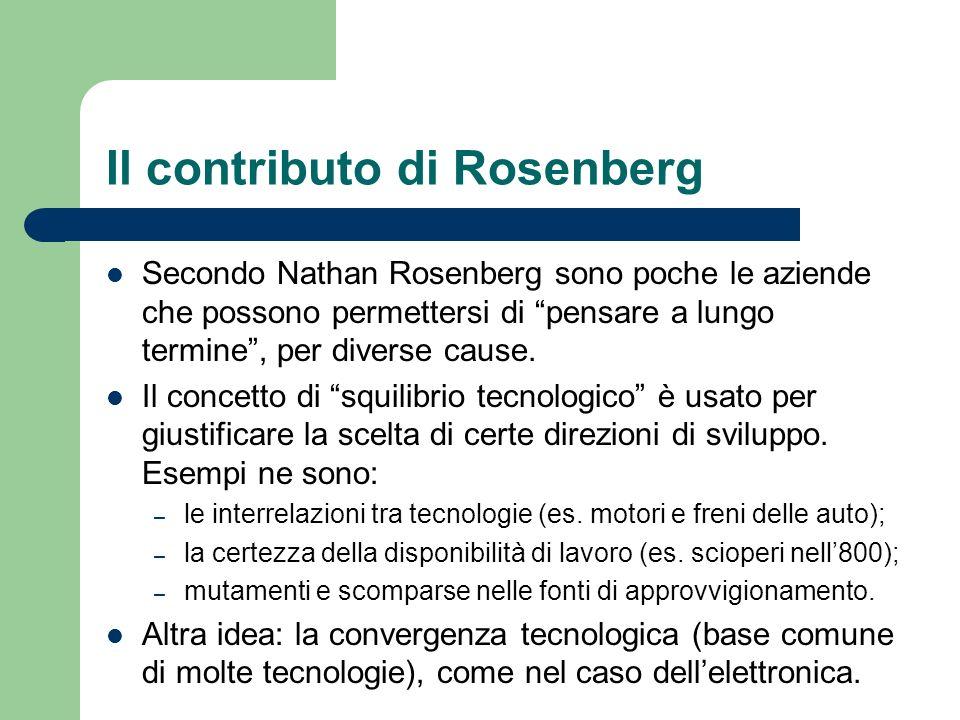 Il contributo di Rosenberg Secondo Nathan Rosenberg sono poche le aziende che possono permettersi di pensare a lungo termine, per diverse cause. Il co
