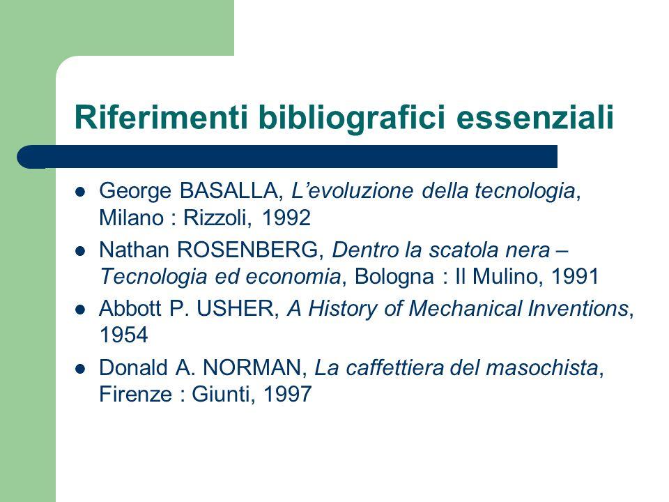 Riferimenti bibliografici essenziali George BASALLA, Levoluzione della tecnologia, Milano : Rizzoli, 1992 Nathan ROSENBERG, Dentro la scatola nera – T