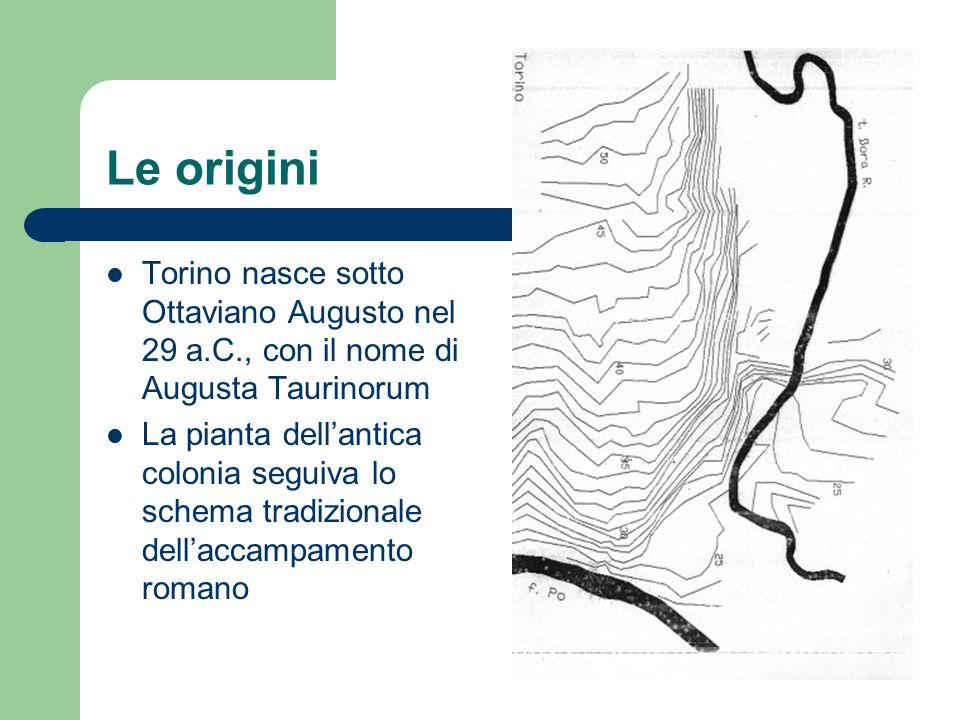 Le origini Torino nasce sotto Ottaviano Augusto nel 29 a.C., con il nome di Augusta Taurinorum La pianta dellantica colonia seguiva lo schema tradizio