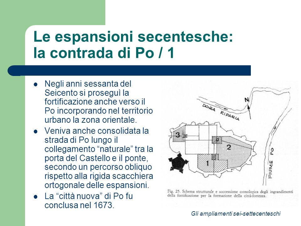 Le espansioni secentesche: la contrada di Po / 1 Negli anni sessanta del Seicento si proseguì la fortificazione anche verso il Po incorporando nel ter