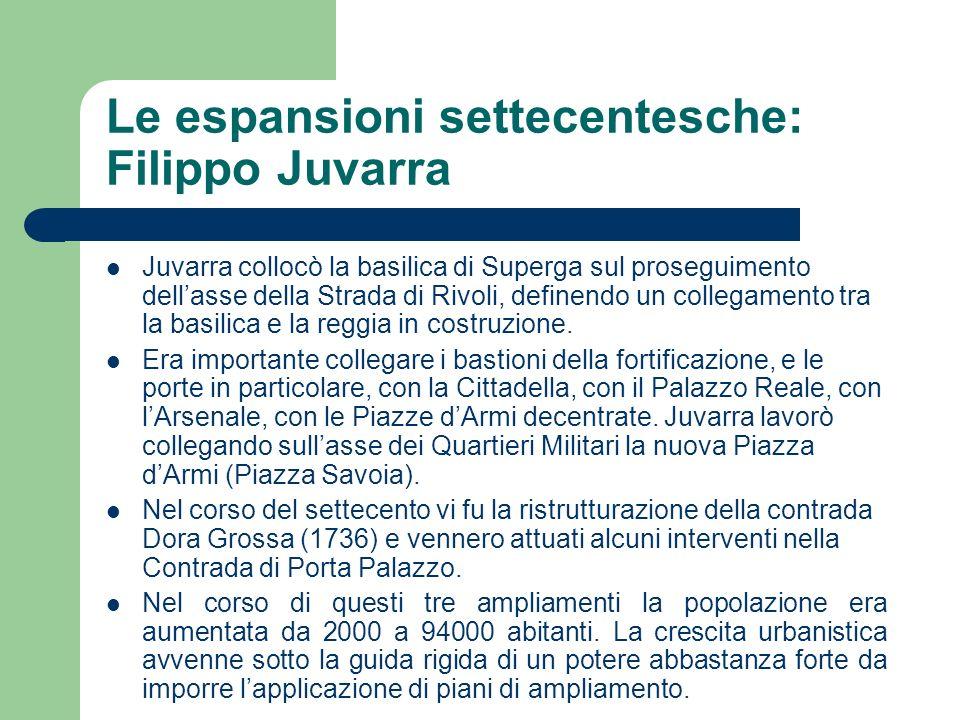 Le espansioni settecentesche: Filippo Juvarra Juvarra collocò la basilica di Superga sul proseguimento dellasse della Strada di Rivoli, definendo un c