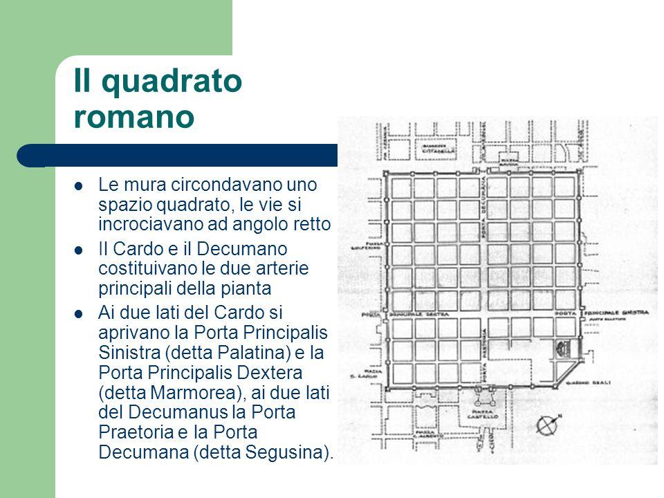 Il quadrato romano Le mura circondavano uno spazio quadrato, le vie si incrociavano ad angolo retto Il Cardo e il Decumano costituivano le due arterie