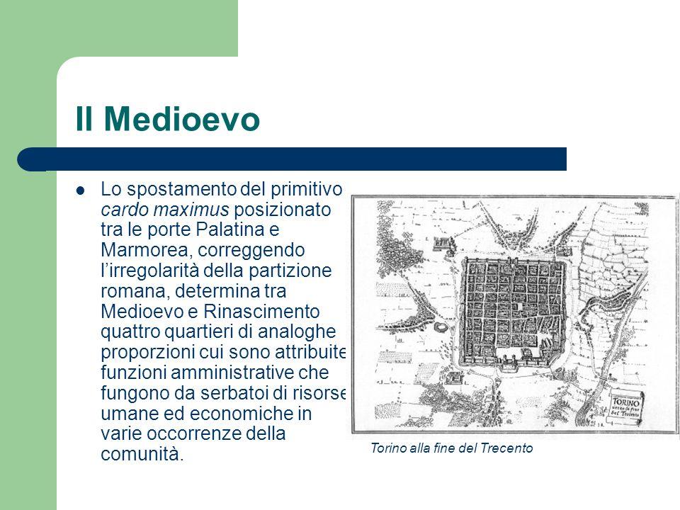Il Medioevo Lo spostamento del primitivo cardo maximus posizionato tra le porte Palatina e Marmorea, correggendo lirregolarità della partizione romana