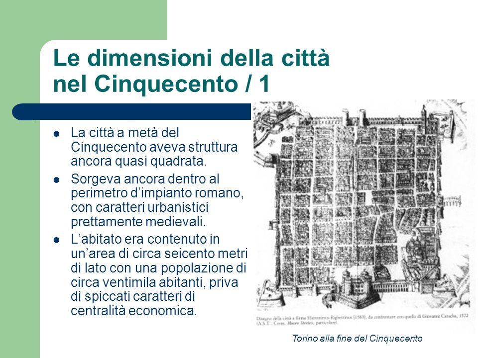 Le dimensioni della città nel Cinquecento / 1 La città a metà del Cinquecento aveva struttura ancora quasi quadrata. Sorgeva ancora dentro al perimetr
