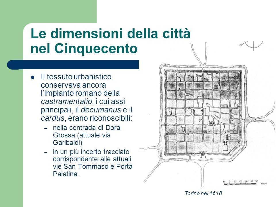 Le dimensioni della città nel Cinquecento / 2 Il tessuto urbanistico conservava ancora limpianto romano della castramentatio, i cui assi principali, i