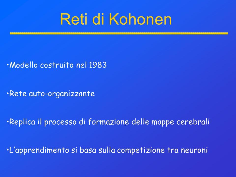 Modello costruito nel 1983 Rete auto-organizzante Replica il processo di formazione delle mappe cerebrali Lapprendimento si basa sulla competizione tra neuroni Reti di Kohonen