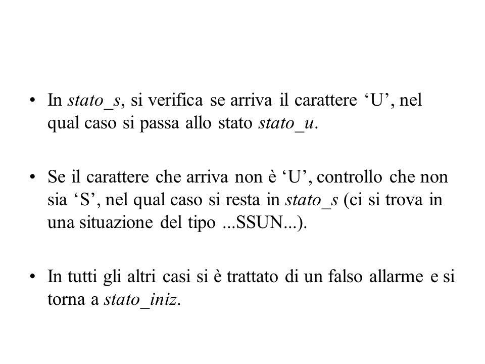 In stato_s, si verifica se arriva il carattere U, nel qual caso si passa allo stato stato_u. Se il carattere che arriva non è U, controllo che non sia