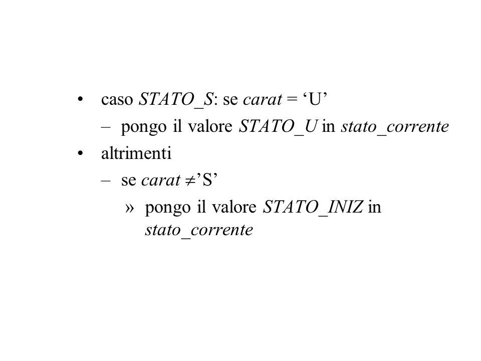 caso STATO_S: se carat = U –pongo il valore STATO_U in stato_corrente altrimenti –se carat S »pongo il valore STATO_INIZ in stato_corrente