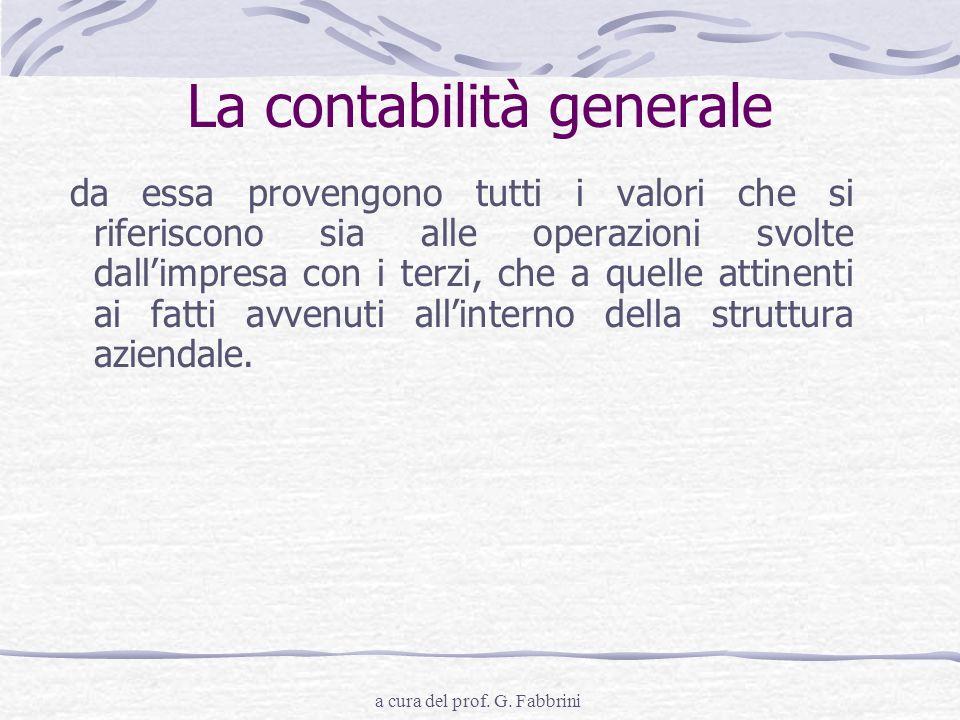 a cura del prof. G. Fabbrini La contabilità generale da essa provengono tutti i valori che si riferiscono sia alle operazioni svolte dallimpresa con i