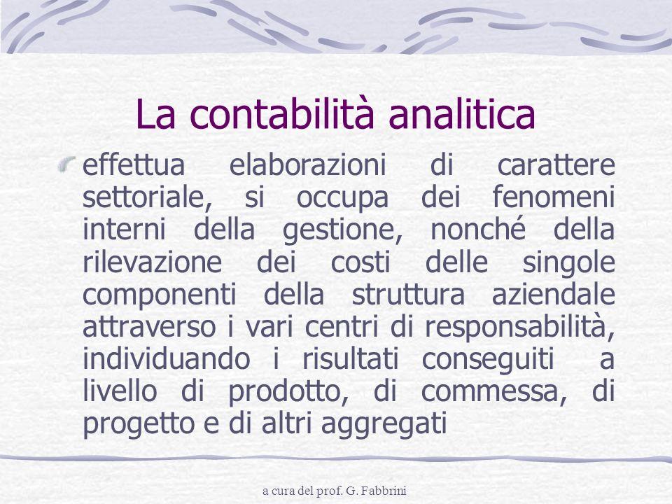 a cura del prof. G. Fabbrini La contabilità analitica effettua elaborazioni di carattere settoriale, si occupa dei fenomeni interni della gestione, no