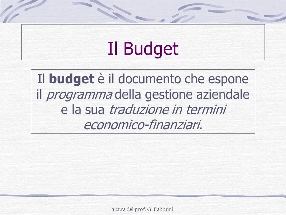 a cura del prof. G. Fabbrini Il Budget Il budget è il documento che espone il programma della gestione aziendale e la sua traduzione in termini econom