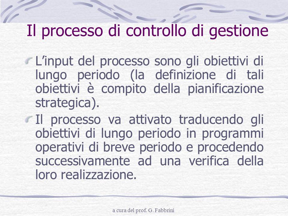 a cura del prof. G. Fabbrini Il processo di controllo di gestione Linput del processo sono gli obiettivi di lungo periodo (la definizione di tali obie