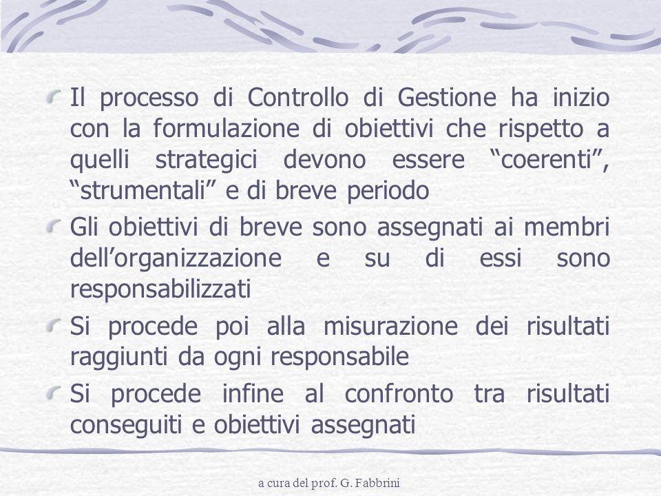 a cura del prof. G. Fabbrini Il processo di Controllo di Gestione ha inizio con la formulazione di obiettivi che rispetto a quelli strategici devono e
