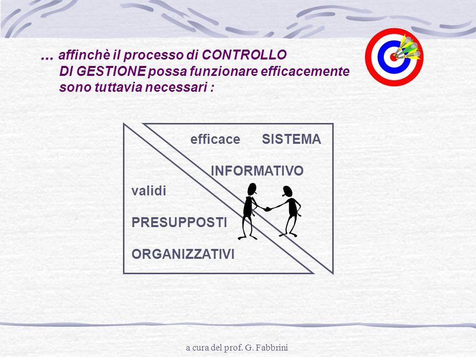 a cura del prof. G. Fabbrini... affinchè il processo di CONTROLLO DI GESTIONE possa funzionare efficacemente sono tuttavia necessari : validi PRESUPPO