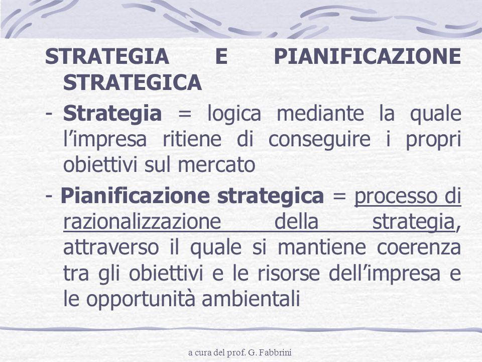 STRATEGIA E PIANIFICAZIONE STRATEGICA -Strategia = logica mediante la quale limpresa ritiene di conseguire i propri obiettivi sul mercato - Pianificaz