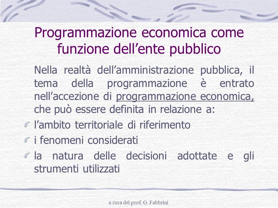 a cura del prof. G. Fabbrini Programmazione economica come funzione dellente pubblico Nella realtà dellamministrazione pubblica, il tema della program