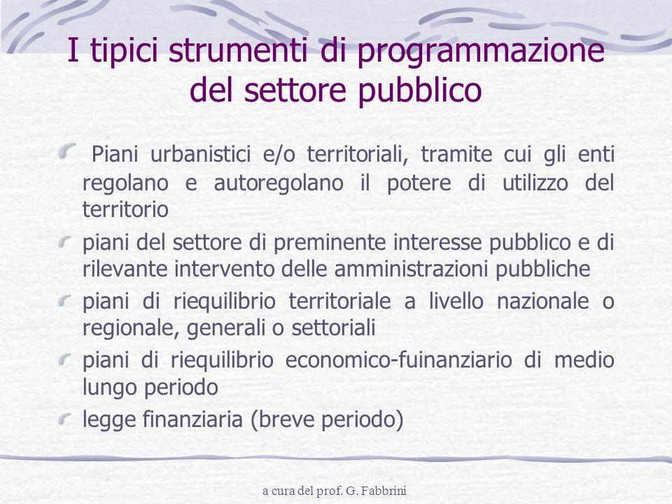 a cura del prof. G. Fabbrini I tipici strumenti di programmazione del settore pubblico Piani urbanistici e/o territoriali, tramite cui gli enti regola