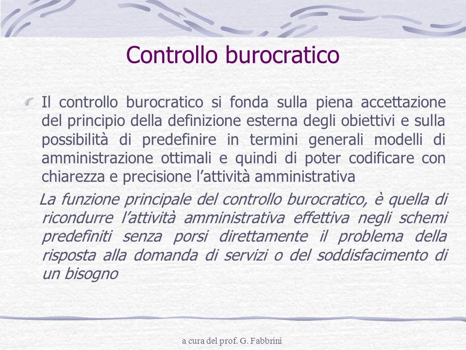 a cura del prof. G. Fabbrini Controllo burocratico Il controllo burocratico si fonda sulla piena accettazione del principio della definizione esterna